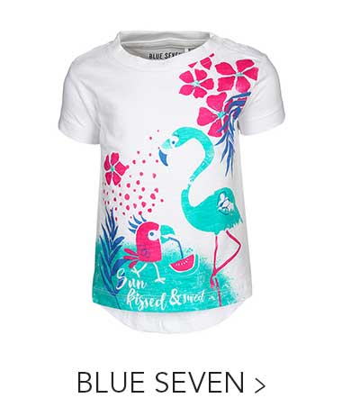 T-Shirt TROPICAL SUNSHINE – FLAMINGO in weiß von BLUE SEVEN