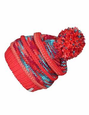 Strick-Mütze KATARINA gefüttert mit Bommel in koralle