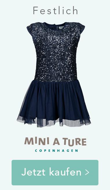 Pailletten-Kleid DEVINA mit Tüllvolants in dunkelblau von MINI A TURE. Jetzt kaufen >